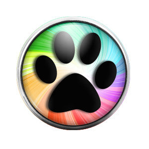 Paw Print Rainbow - 18MM Glass Dome Candy Snap Charm GD0297
