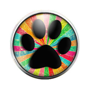 Paw Print Rainbow - 18MM Glass Dome Candy Snap Charm GD0296
