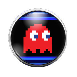 Pacman Ghost Red - 18MM Glass Dome Candy Snap Charm GD0286