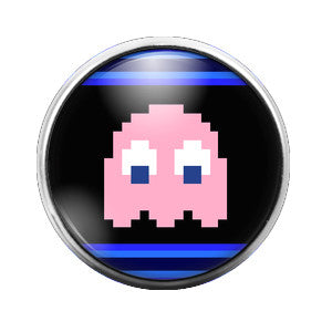 Pacman Ghost Pink - 18MM Glass Dome Candy Snap Charm GD0289