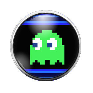 Pacman Ghost Green - 18MM Glass Dome Candy Snap Charm GD0288