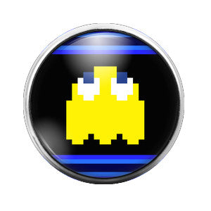 Pacman Ghost Yellow - 18MM Glass Dome Candy Snap Charm GD0287