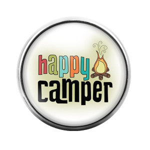 Happy Camper - 18MM Glass Dome Candy Snap Charm GD0305
