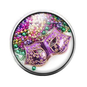 Mardi Gras Mask - 18MM Glass Dome Candy Snap Charm GD0304