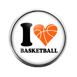 I Love Basketball- 18MM Glass Dome Candy Snap Charm GD0310