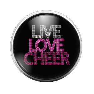 Live Love Cheer - 18MM Glass Dome Candy Snap Charm GD0309