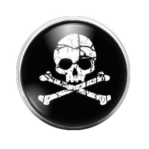 Skull Crossbones Halloween- 18MM Glass Dome Candy Snap Charm GD0053