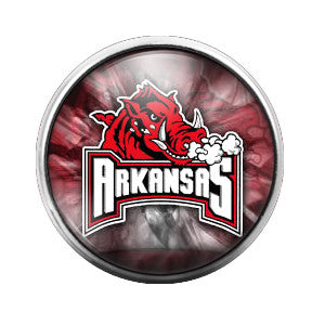 Arkansas Razorbacks - 18MM Glass Dome Candy Snap Charm GD0258