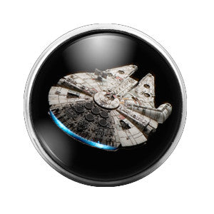 Star Wars Millennium Falcon - 18MM Glass Dome Candy Snap Charm GD0199