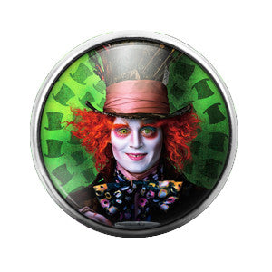 Mad Hatter Alice in Wonderland- 18MM Glass Dome Candy Snap Charm GD0196