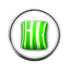 Candy Crush Green Stripe- 18MM Glass Dome Candy Snap Charm GD0227