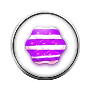 Candy Crush Purple Stripe- 18MM Glass Dome Candy Snap Charm GD0233