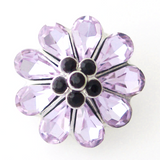 1 PC 18MM Purple Flower Rhinestone Silver Candy Snap Charm kb8139 CC0877