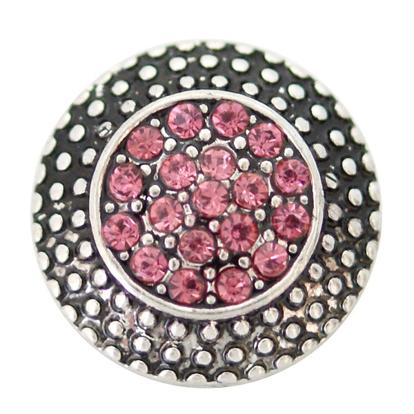 1 PC - 18MM Pink Rhinestone Silver Snap Candy Charm kb6865 CC2001