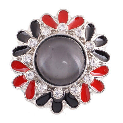 1 PC - 18MM Black Red Flower Enamel Rhinestone Silver Snap Candy Charm KC6013 CC2095