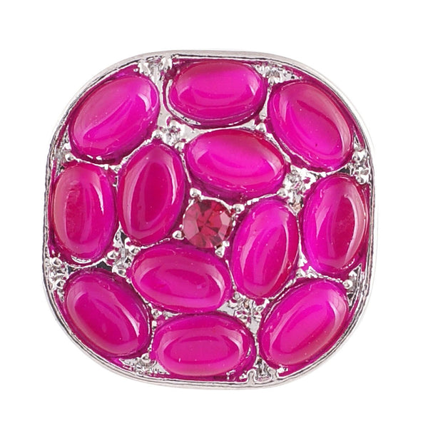 1 PC - 18MM Pink Cat's Eye Rhinestone Silver Snap Candy Charm KC7006 Cc2108