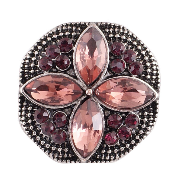 1 PC - 18MM Pink Purple Rhinestone Silver Snap Candy Charm KC7026 Cc2128