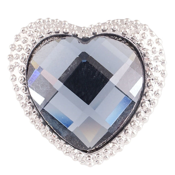 1 PC - 18MM Blue Heart Rhinestone Silver Snap Candy Charm KC7027 Cc2129