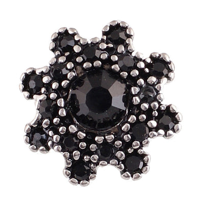 1 PC - 18MM Black Flower Rhinestone Silver Charm for Candy Snap Jewelry KC9606 CC2160