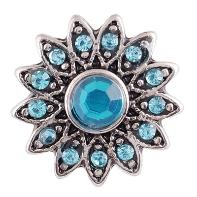 1 PC - 18MM Blue Flower Rhinestone Silver Charm for Candy Snap Jewelry KC9610 CC2164