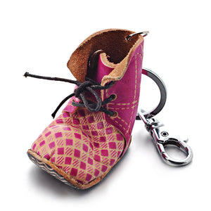 1 Pink Leather Boot Keychain - FITS 12MM Candy Snap Charm Jewelry Silver Limited Edition CJ0402