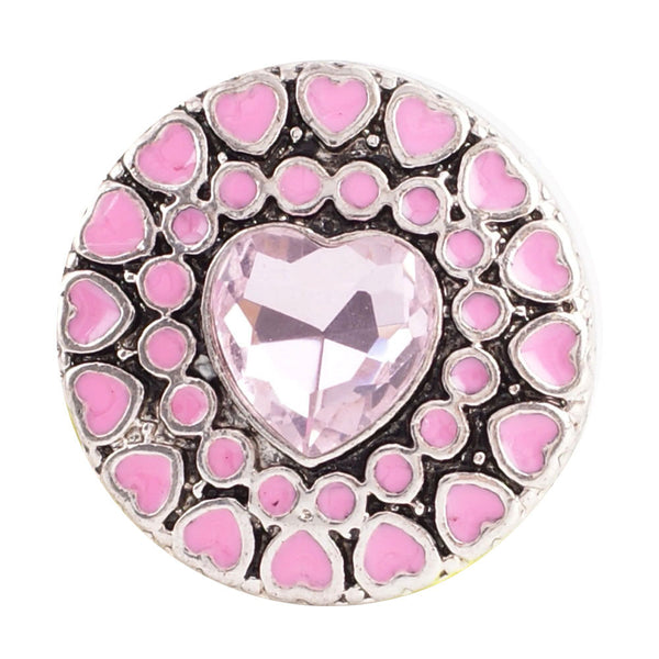 1 PC - 18MM Pink Heart Enamel Rhinestone Silver Charm for Candy Snap Jewelry KC8508 Cc2237