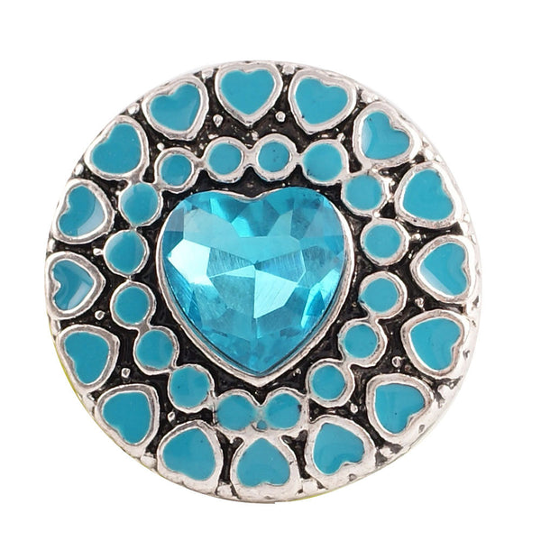 1 PC - 18MM Blue Heart Enamel Rhinestone Silver Charm for Candy Snap Jewelry KC8510 Cc2239