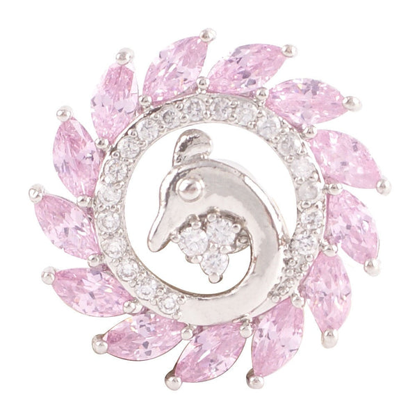 1 PC - 18MM Bird Pink Rhinestone Silver Charm for Candy Snap Jewelry KC9023 Cc2271