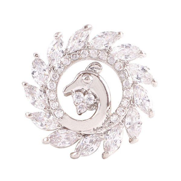 1 PC - 18MM Bird White Rhinestone Silver Charm for Candy Snap Jewelry KC9024 Cc2272