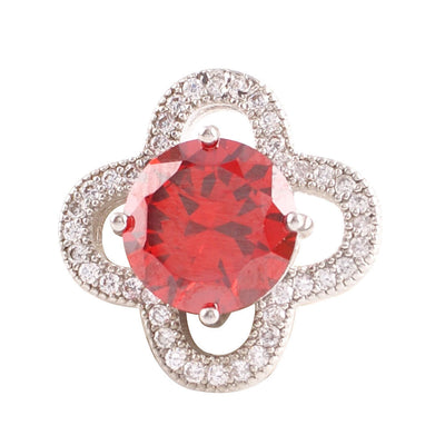 1 PC - 18MM Red Rhinestone Silver Charm for Candy Snap Jewelry KC9020 CC2268