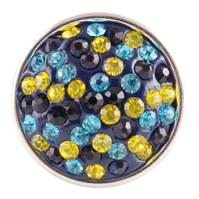 1 PC - 18MM Yellow Blue Rhinestone Silver Charm for Candy Snap Jewelry KC2708 CC2295