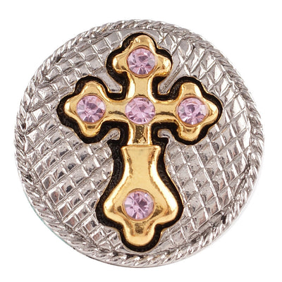 1 PC - 18MM Pink Cross Rhinestone Silver Gold Charm for Candy Snap Jewelry KC7061 CC2323