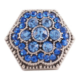 1 PC - 18MM Blue Flower Rhinestone Silver Charm for Candy Snap Jewelry KC7066 CC2328
