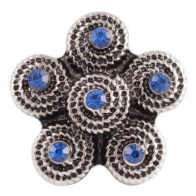 1 PC - 18MM Blue Swirl Rhinestone Silver Charm for Candy Snap Jewelry KC7093 CC2355