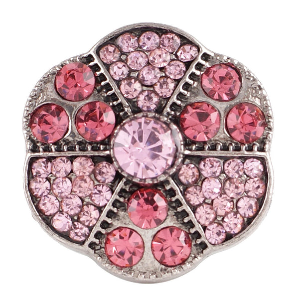 1 PC - 18MM Pink Rhinestone Silver Charm for Candy Snap Jewelry KC7102 Cc2363