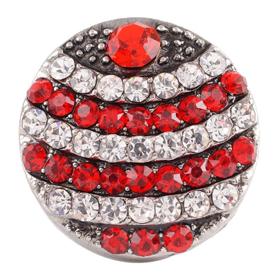 1 PC - 18MM Red White Rhinestone Silver Charm for Candy Snap Jewelry KC7106 CC2367