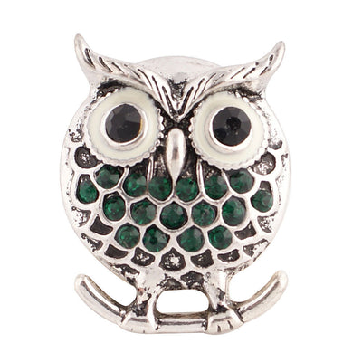 1 PC - 18MM Green Owl Rhinestone Silver Charm for Candy Snap Jewelry KC8522 CC2378