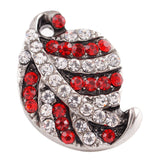 1 PC - 18MM Red White Leaf Rhinestones Candy Snap Charm Silver Tone kc7134 CC2697