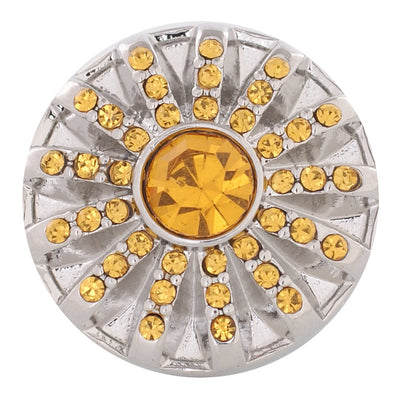 1 PC - 18MM Yellow Rhinestone Candy Snap Charm Silver Tone kc5069 CC2783