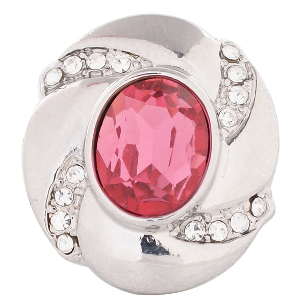 1 PC - 18MM Pink Rhinestone Candy Snap Charm Silver Tone kc5080 CC2792
