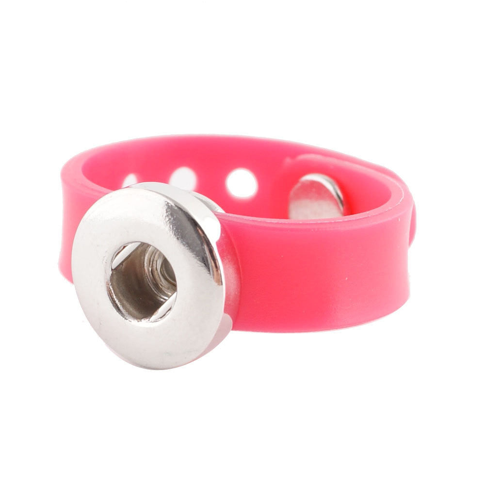 1 Silicone Ring - Adjustable Pink FITS 12MM Candy Snap Charm Jewelry Silver KS0913-s CP0146