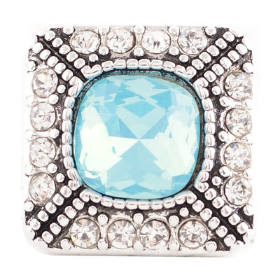 1 PC - 18MM Blue Rhinestone Candy Snap Charm Silver Tone kc6089 CC2800