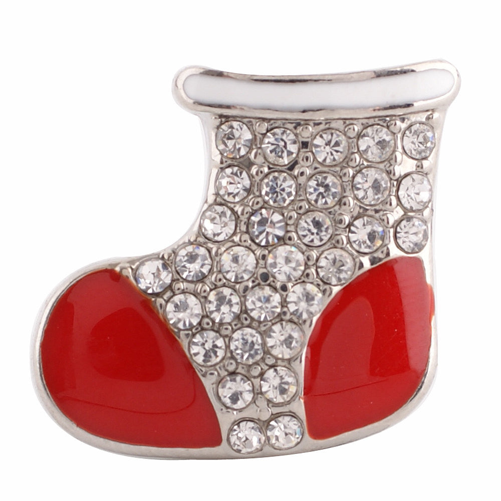 1 PC - 18MM Stocking Christmas Rhinestone Candy Snap Charm Silver Tone kc6159 CC2803