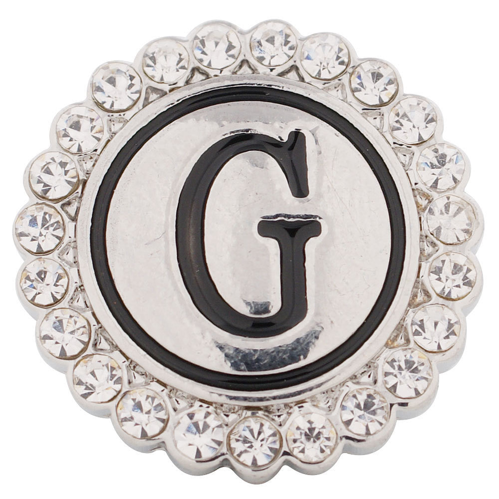 1 PC 18MM Letter G Alphabet Rhinestone Silver Candy Snap Charm KC8536 CC2837