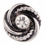 1 PC 18MM White Rhinestone Silver Tone Candy Snap Charm KC9637 CC2868