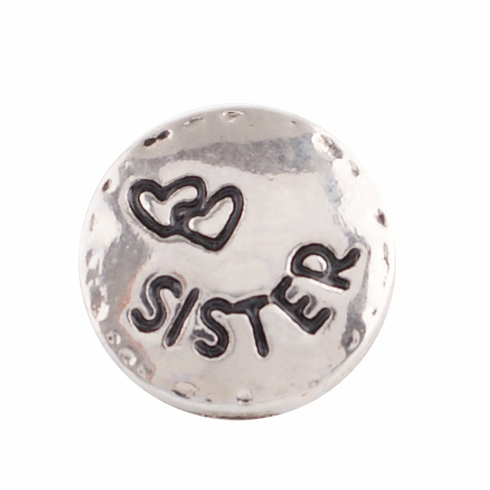 1 PC 12MM Sister Love Hearts Silver Tone Candy Snap Charm KS9649-s CC2907