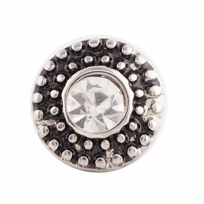 1 PC - 12MM White Rhinestones Candy Snap Charm Silver Tone ks9645-s CC2754