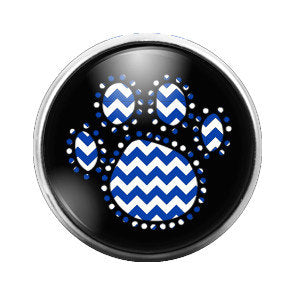 Blue Chevron Pawprint Paw - 18MM Glass Dome Candy Snap Charm GD0075