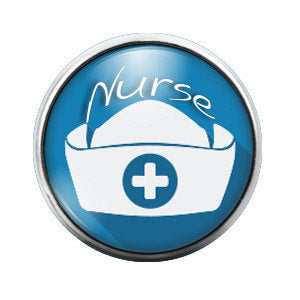 Nurse Hat- 18MM Glass Dome Candy Snap Charm GD0062