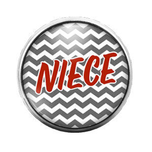 Niece Chevron Red Gray - 18MM Glass Dome Candy Snap Charm GD0098